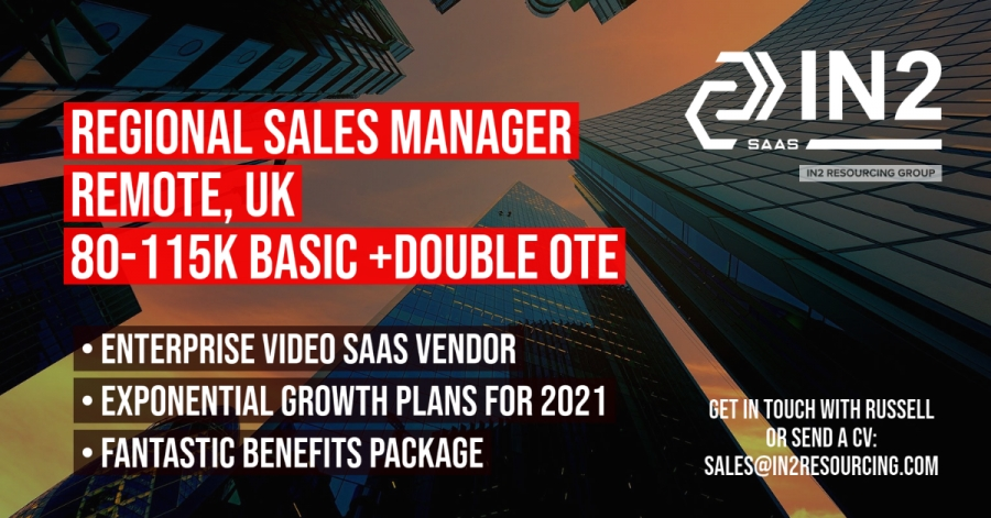 Regional Sales Manager - Remote, UK